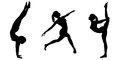 Female gymnast silhouettes silhouette illustrations of a with a ponytail in various poses on a white background Stock Image