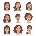 Female hairstyles set. Royalty Free Stock Photo