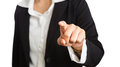 Female hand of business woman pointing finger at camera Royalty Free Stock Photo