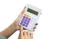 Female hand holding calculator for compute formula business fin financial or shopping concept on white background Royalty Free Stock Photo