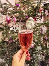 A female hand holding a champagne glass against noel tree