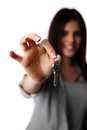 Female hand holding keys closeup portrait of a Royalty Free Stock Photography