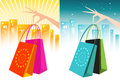Female Hand Holding Shopping Bags- Two Colourways Royalty Free Stock Photos
