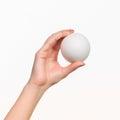 The female hand holding white blank styrofoam ball