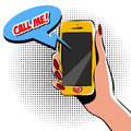 Female hand with phone pop art vector illustration. Comic book style imitation. Colorful