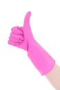 Female hand in pink rubber glove thumbs up isolated on white background Royalty Free Stock Image