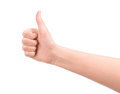 Female hand showing a thumb up gesture isolated on white Royalty Free Stock Images