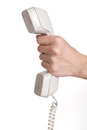 Female hand telephone receiver over white Stock Photography