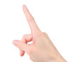 Female hand touching or pointing to something. Royalty Free Stock Photo