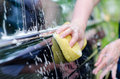Female hand washing car with yellow sponge Stock Image