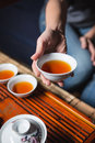Female hands holding cup with tea Royalty Free Stock Photo