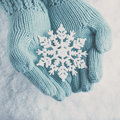 Female hands in light teal knitted mittens with sparkling wonderful snowflake on white snow background. Winter, Christmas concept Royalty Free Stock Photo