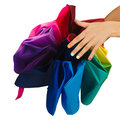 Female hands opened colorful umbrella isolated on white background Stock Photos