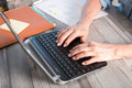 Female hands using a laptop Royalty Free Stock Photo