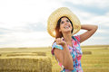 Female happy farmer success enjoying tranquility and agriculture business in countryside field country woman smiling Royalty Free Stock Photo