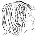 Female Head Profile Line Drawing Stock Image