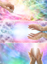 Female Healing Hands and healing energy x 3 banners Royalty Free Stock Photo