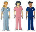Female Health Pros in Scrubs Royalty Free Stock Images