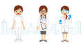 Female healthcare worker townscape background vector illustration Royalty Free Stock Photos