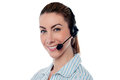 Female help desk executive young call centre Stock Image