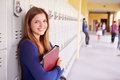 Female High School Student Standing By Lockers Royalty Free Stock Photo
