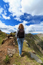 Female hiker on Dolomites Stock Image