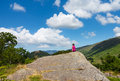 Female hiker overlooking thirlmere young in english lake district in lakeland cumbria Stock Photography