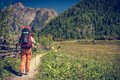 Female hiker walking on a path. Royalty Free Stock Photo
