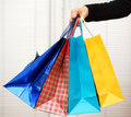 Female holding shopping bags four Royalty Free Stock Photo
