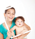 Female holding son Stock Photography