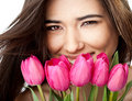 Female holding tulips Royalty Free Stock Images