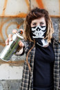 Female hooligan holding graffiti spray young in hand Stock Images