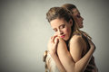 Female hug portrait of women giving himself a Royalty Free Stock Photo