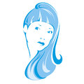 Female icon contour face of a girl Royalty Free Stock Photo