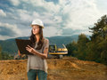 Female inspector analizing construction Royalty Free Stock Photo