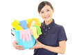 A female janitorial cleaning service portrait of an asian woman Royalty Free Stock Image