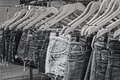Female jeans Mono hangers street market Royalty Free Stock Photo