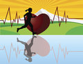 Female Jogger with Heartbeat Illustration Stock Image