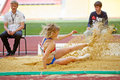Female jumper in sandpit moscow jun at grand sports arena of luzhniki oc during international athletics competitions iaaf world Royalty Free Stock Image