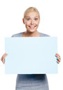 Female keeping huge sheet of paper white isolated on white copyspace Stock Photography