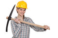 Female laborer with axe Royalty Free Stock Photo