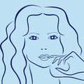 Female laconic characters head outline in blue hues hand drawing vector simple illustration Stock Photos