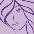 Female laconic heads outline in violet hues hand drawing vector simple illustration Royalty Free Stock Image