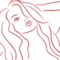 Female laconic heads red outline sensual over white hand drawing vector simple illustration Stock Images