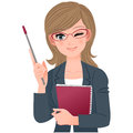 Female lecturer winking with pointer stick Royalty Free Stock Photo