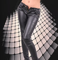 Female legs in black trousers Royalty Free Stock Photo