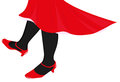 Female legs dancing in black stockings and red skirt Stock Images