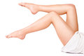 Female legs and towel Stock Photography