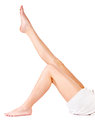 Female legs and towel Stock Photo