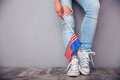 Female legs with usa flag closeup portrait of Royalty Free Stock Images